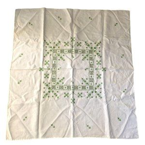 Vtg Embroidered Linen Tablecloth 38 x 40 Square